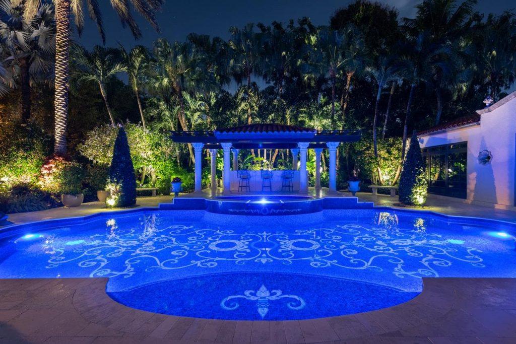 Howard Hughes Pool - Night Time Shot of Mosaic tile