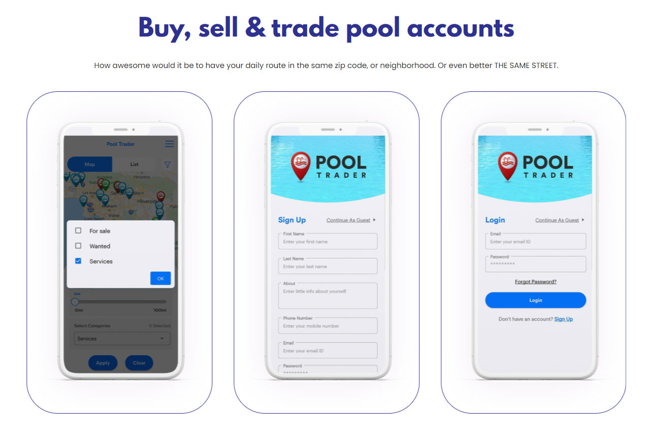 Pool Trader is the app helping service companies buy and sell their route.
