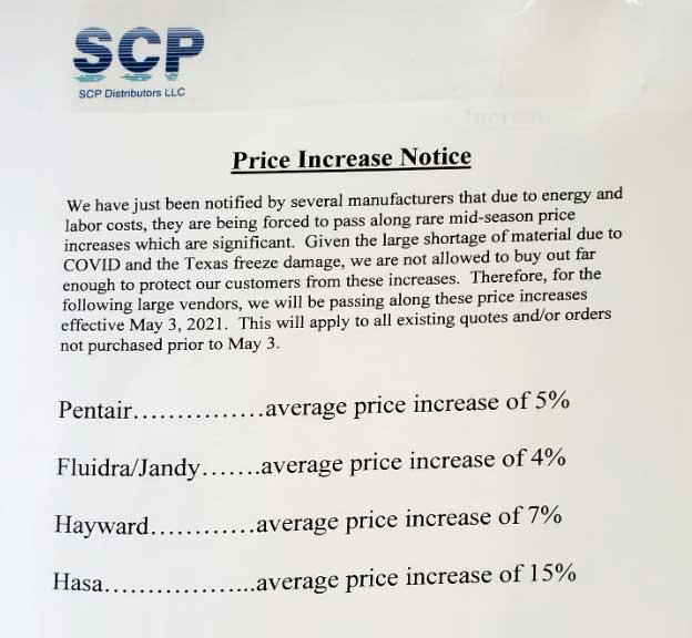 SCP PRICE INCREASES - SCP customers all over the country received similar letters regarding price increases this week.