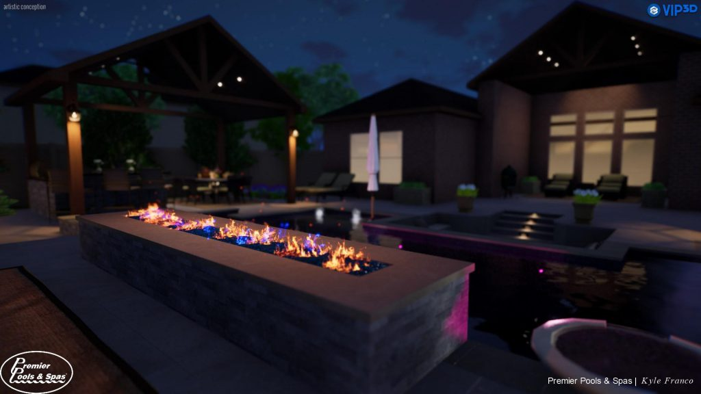 Kyle Franco -showcasing some of the new functionality found in Vip3D 3.0 - Seen here: More realistic flame effects, depth of field and fireflies which Franco incorporated into his sales presentation.