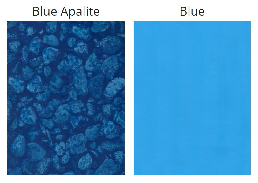 Tri City Vinyl above ground liners are available in a blue apalite pattern or solid blue color