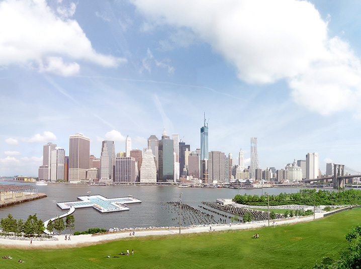 The space planned along New York City's East River will provide an instantly iconic backdrop for bathers.