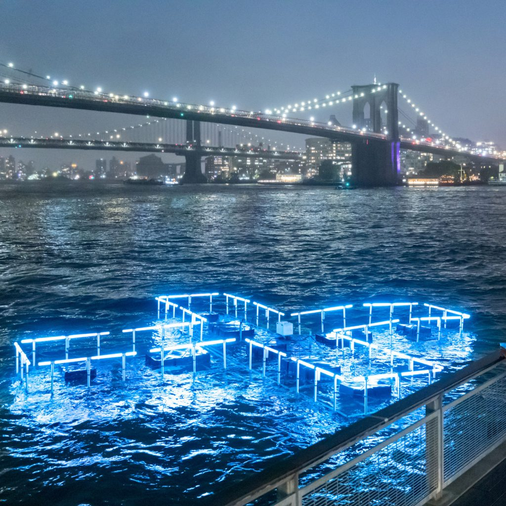 Plus Pool Lighting Up At Night in East River