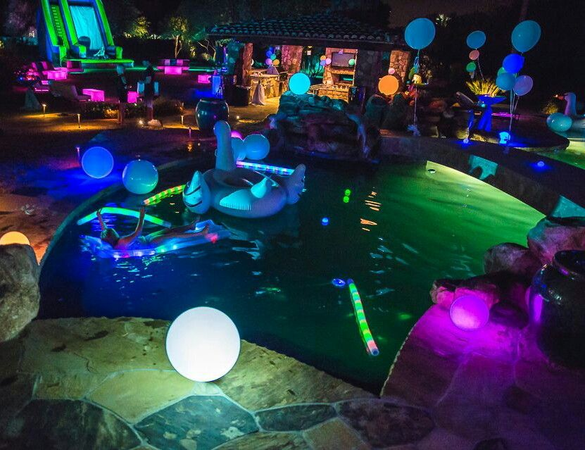 Glow in the dark pool party themes are becoming increasingly popular with kids and adults like.