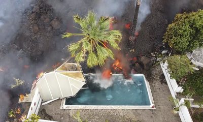 Lava Destroys Swimming Pool in Spain