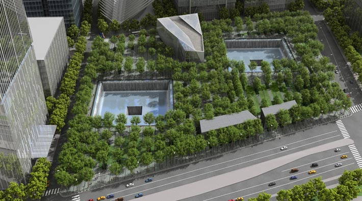 Landscaping of the 9/11 Memorial plaza was done by Peter Walker & Partners Landscape Architecture