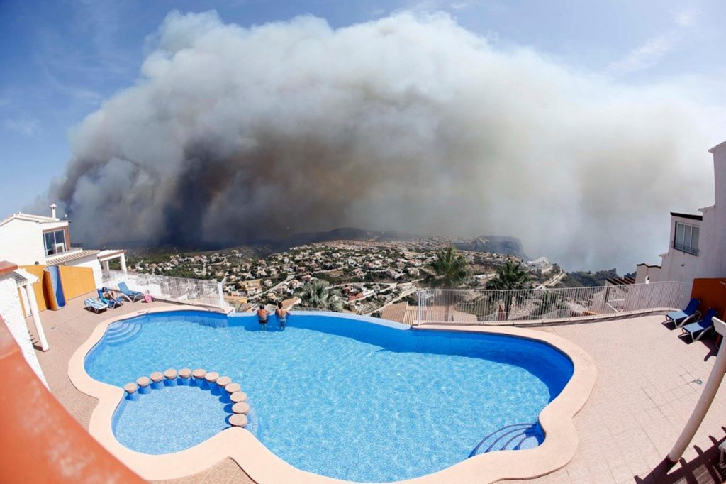 A sparkling blue pool can quickly turn into a disgusting mess of ash & debris after a wildfire.
