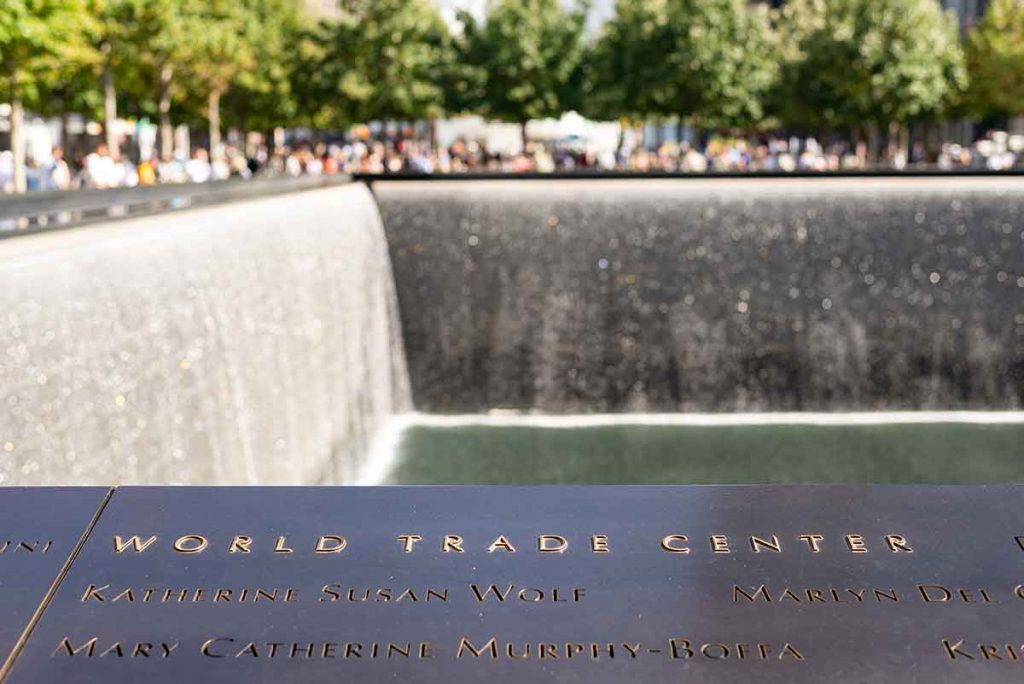 The names of the victims of the September 11th attacks are engraved into 152 bronze parapets on the North & South pools.