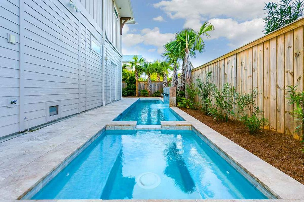 Narrow pool design for side of house.